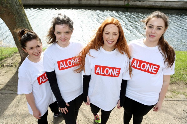 Repro Free: 16th March 2017. Lisa Lambe, Irish actress and singer, and a team of ALONE fundraisers launched the charity's VHI Women's Mini Marathon campaign in Dublin today. ALONE, the charity that supports older people to age at home, is calling on women throughout the country to participate in the VHI Women's Mini Marathon in aid of ALONE. The charity aims to raise money to go towards the provision of vital befriending services for older people who may be suffering from loneliness or isolation. Pictured with Lisa Lambe was Fiona Dunkin, Imogen O'Rourke and Sophie Ainscough. Picture Jason Clarke