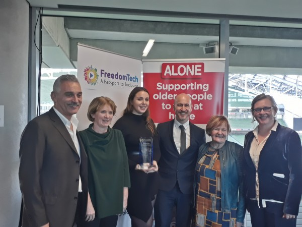 ALONE accepting FreedomTech Award