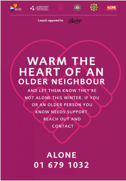 poster asking people to check in on an older person during cold weather