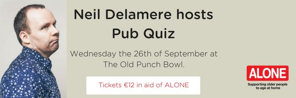 Comedian Neil Delamere does charity quiz.