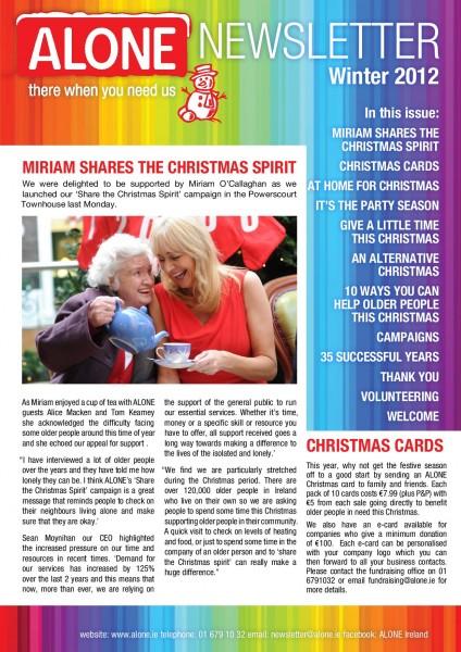 2012 ALONE Christmas Newsletter