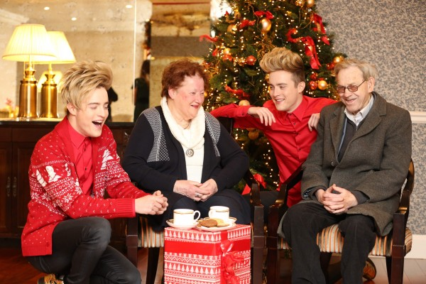 Thursday, 29th November 2015. Jedward get in the Christmas spirit and share a laugh with Patricia Stanley and Donal Byrne. This year Jedward are supporting ALONE in our #ShareYourPresence campaign.